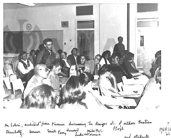 Soleri speaking at an IAIA design meeting